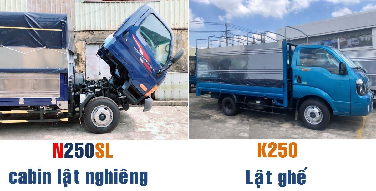 so sánh xe tải n250sl với k250
