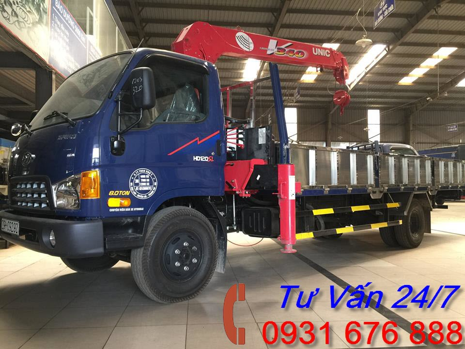 xe tải hyundai hd120s gắn cẩu unic 3 tấn 4 đốt