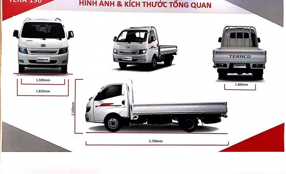 kích thước xe tải tera190 thùng lửng