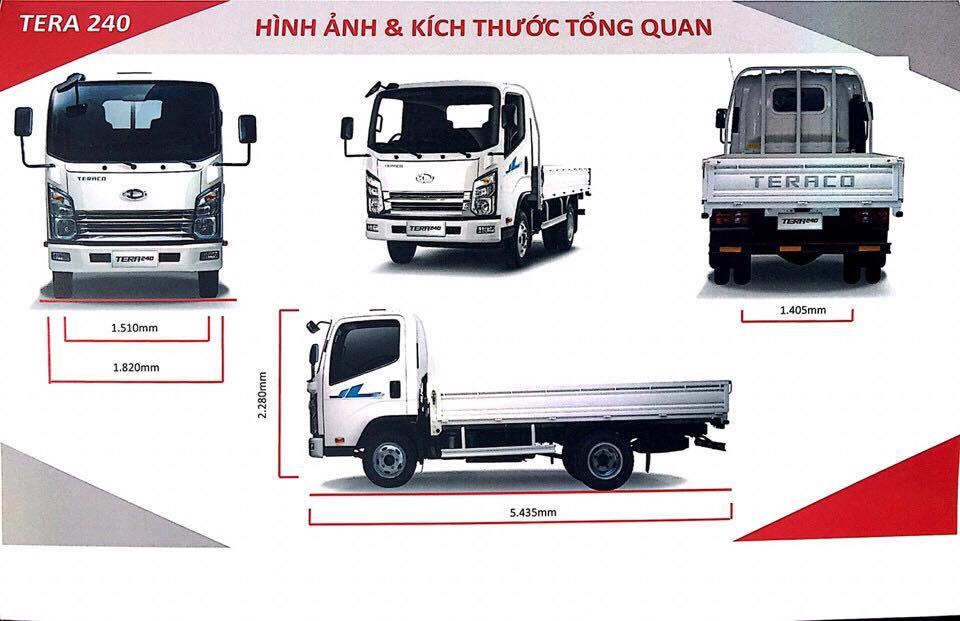 kích thước xe tải 2,3 tấn daehan tera 230