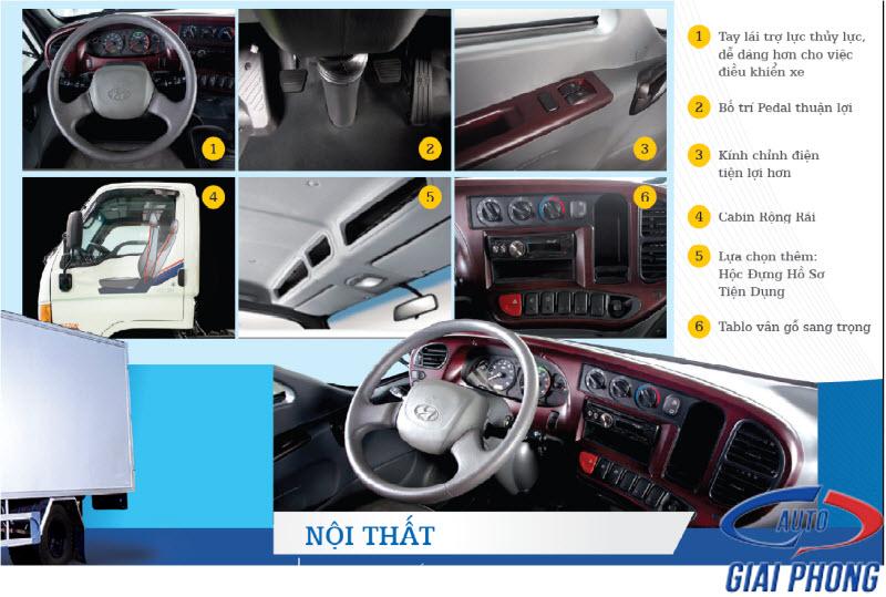 nội thất xe tải 8,5 tấn Hyundai hd120s